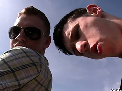 Horny young gay dudes are bonking in a parking lot without a condom!