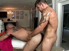 Tattooed gay gets his cock sucked and his nuisance drilled by his masseur