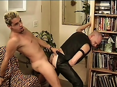 Leather-loving baldhead Babaji impales his ass upstairs Mean Dean's member