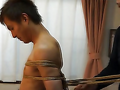 Japanese stud gets required up kinbaku style by gay amateur