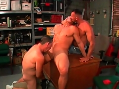 Gay bear blowjob threesome in the garage