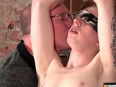 Blindfolded and romp boy stroked by his old hand
