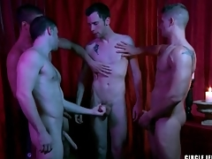 Four guys cum on the unseemly in circle jerk