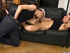 Juvenile homo gives impressive hunk a lusty arse licking session