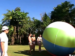 Great team work with four for detail muscular guys and giant ball, enjoy