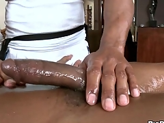 Black stud gets his horny rod rubbed and stroked