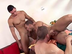 Threeway massage stud feasts on their cocks