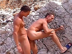 Gay studs with hot bodies are on the beach and nailing some ass