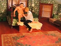 Lusty blond Romeo bends over to let this hunky lover pound his ass